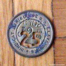 Monedas locales: FICHA MONEDA DEL SINDICATO AGRÍCOLA DE LLAVANERES DE 25 P-102 T-2-B. EN BUEN ESTADO.. Lote 160731382