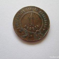 Monedas locales: FICHA * COOPERATIVA OBRERA MANRESANA * 1 PESETA. Lote 169309208