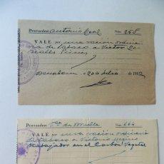 Monedas locales: 2 VALES DE TABACO ( DIFERENTES ) RACIONAMIENTO / BENABARRE 1941 - 1943 / HUESCA / ORIGINALES. Lote 170300210