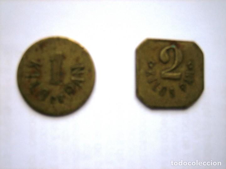 Monedas locales: 2 fichas Cooperativa obrera de consumo. Basauri, Vizcaya. 1 y 2 kilos de pan - Foto 2 - 170366860