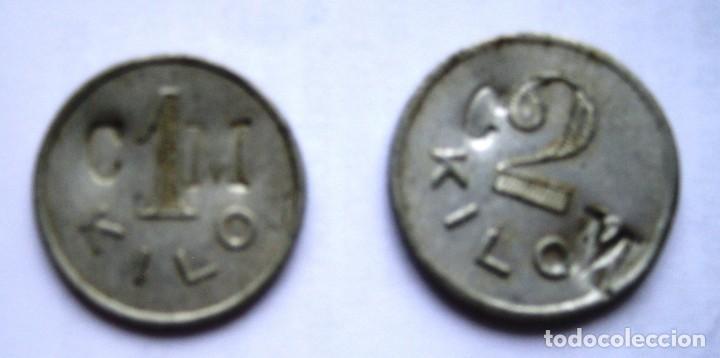 Monedas locales: 2 fichas Cooperativa de consumo. Miravalles, Vizcaya. 1 y 2 kilos. Vasco - Foto 2 - 170366952