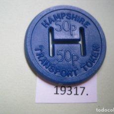 Monedas locales: FICHA TRANSPORTE INGLATERRA, HAMPSHIRE, 50 PENIQUES, TOKEN, JETÓN. Lote 172375673