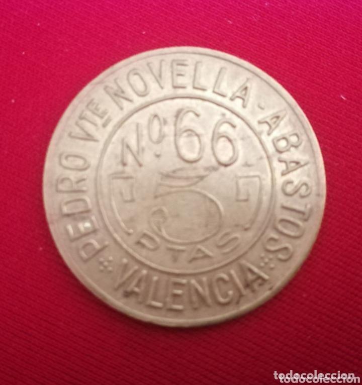VALENCIA. PEDRO NOVELLA. ABASTOS. 5 PTAS. (Numismática - España Modernas y Contemporáneas - Locales y Fichas Dinerarias y Comerciales)
