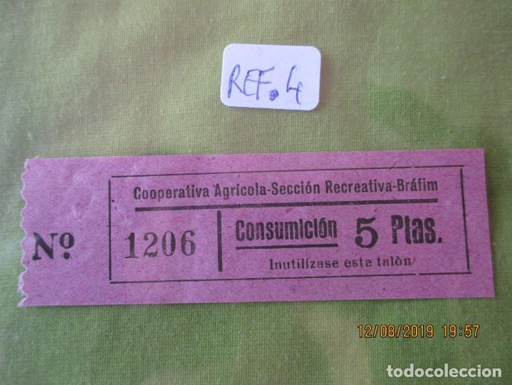 5 PTAS. VALE Nº 1206 CONSUMICION. COOPERATIVA AGRICOLA SECCION RECREATIVA. BRAFIM (TARRAGONA) REF. 4 (Numismática - España Modernas y Contemporáneas - Locales y Fichas Dinerarias y Comerciales)