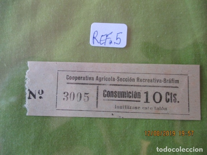 10 CTS. VALE Nº 3005 CONSUMICION. COOPERATIVA AGRICOLA SECCION RECREATIVA. BRAFIM (TARRAGONA) REF. 5 (Numismática - España Modernas y Contemporáneas - Locales y Fichas Dinerarias y Comerciales)