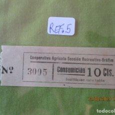 Monedas locales: 10 CTS. VALE Nº 3005 CONSUMICION. COOPERATIVA AGRICOLA SECCION RECREATIVA. BRAFIM (TARRAGONA) REF. 5. Lote 173594890