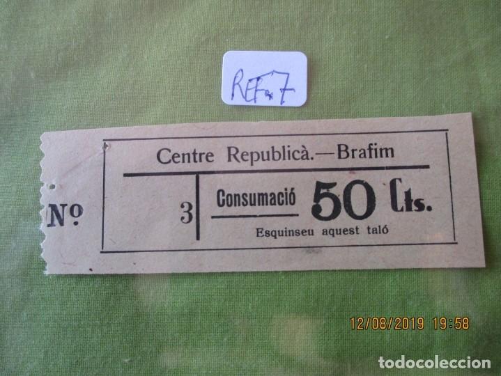 50 CTS. VALE Nº 3. CONSUMACIO. CENTRE REPUBLICA. BRAFIM (TARRAGONA) REF. 7 (Numismática - España Modernas y Contemporáneas - Locales y Fichas Dinerarias y Comerciales)