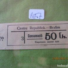 Monedas locales: 50 CTS. VALE Nº 3. CONSUMACIO. CENTRE REPUBLICA. BRAFIM (TARRAGONA) REF. 7. Lote 173595087