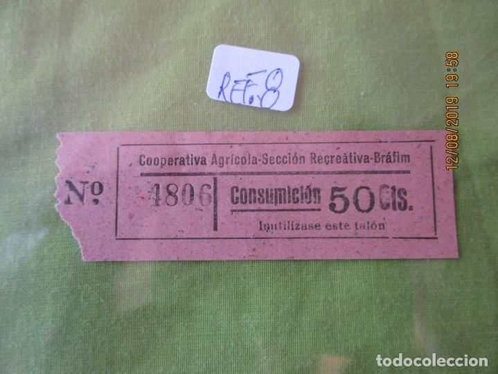 50 CTS. VALE Nº 4806 CONSUMICION. COOPERATIVA AGRICOLA SECCION RECREATIVA. BRAFIM (TARRAGONA) REF. 8 (Numismática - España Modernas y Contemporáneas - Locales y Fichas Dinerarias y Comerciales)