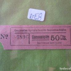 Monedas locales: 50 CTS. VALE Nº 4806 CONSUMICION. COOPERATIVA AGRICOLA SECCION RECREATIVA. BRAFIM (TARRAGONA) REF. 8. Lote 173595243