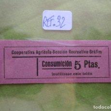 Monedas locales: 5 PTAS. VALE: CONSUMICION. COOPERATIVA AGRICOLA SECCION RECREATIVA. BRAFIM. (TARRAGONA) REF. 32. . Lote 173665080