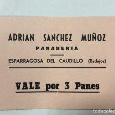 Monedas locales: VALE DE PAN DE PANADERIA ADRIAN SANCHEZ MUÑOZ. ESPARRAGOSA DEL CAUDILLO, BADAJOZ. VALE POR 3 PANES. Lote 175179472