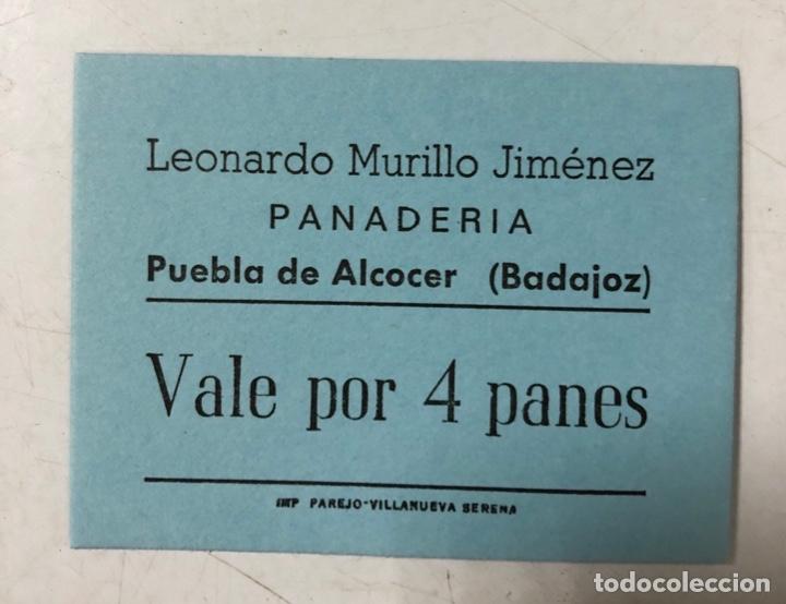 VALE DE PAN DE PANADERIA LEONARDO MURILLO JIMENEZ. PUEBLA DE ALCOCER, BADAJOZ. VALE POR 4 PANES (Numismática - España Modernas y Contemporáneas - Locales y Fichas Dinerarias y Comerciales)