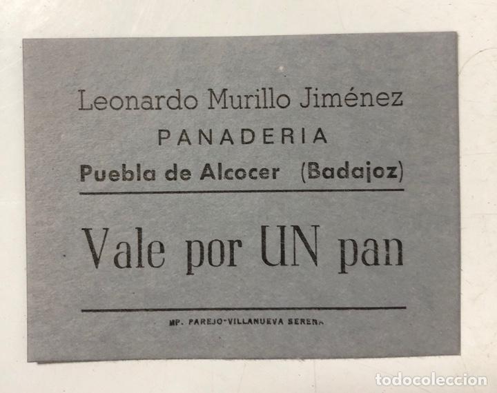 VALE DE PAN DE PANADERIA LEONARDO MURILLO JIMENEZ. PUEBLA DE ALCOCER, BADAJOZ. VALE POR 1 PAN (Numismática - España Modernas y Contemporáneas - Locales y Fichas Dinerarias y Comerciales)