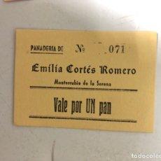 Monedas locales: VALE DE PAN DE PANADERIA EMILIA CORTES ROMERO. MONTERRUBUIO DE LA SERENA, BADAJOZ. VALE POR 1 PAN. Lote 175179829