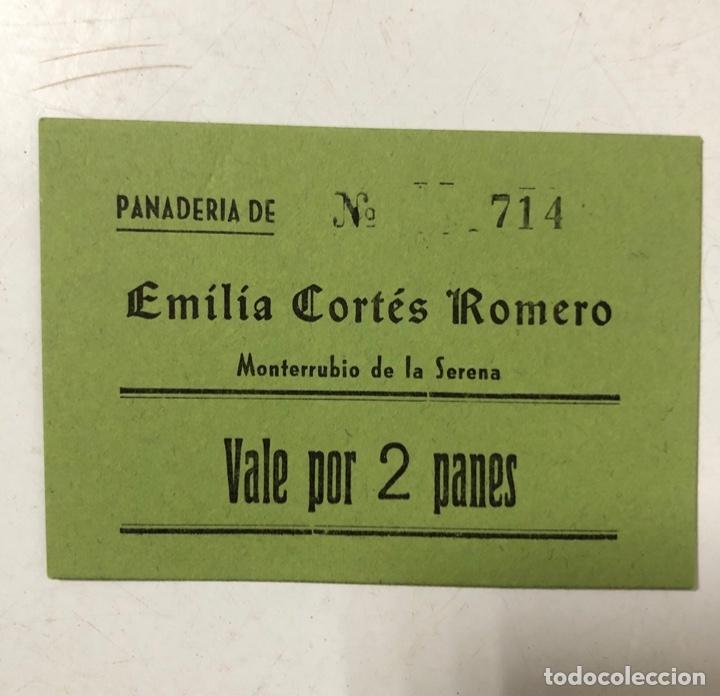 VALE DE PAN DE PANADERIA EMILIA CORTES ROMERO. MONTERRUBUIO DE LA SERENA, BADAJOZ. VALE POR 2 PANES (Numismática - España Modernas y Contemporáneas - Locales y Fichas Dinerarias y Comerciales)