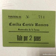 Monedas locales: VALE DE PAN DE PANADERIA EMILIA CORTES ROMERO. MONTERRUBUIO DE LA SERENA, BADAJOZ. VALE POR 2 PANES. Lote 175179834