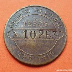 Monedas locales: COGNAC TERRY 1910 FICHA COMERCIAL PUERTO SANTA MARIA CADIZ OBSEQUIO NUMERADO COBRE NO COOPERATIVA. Lote 176878903