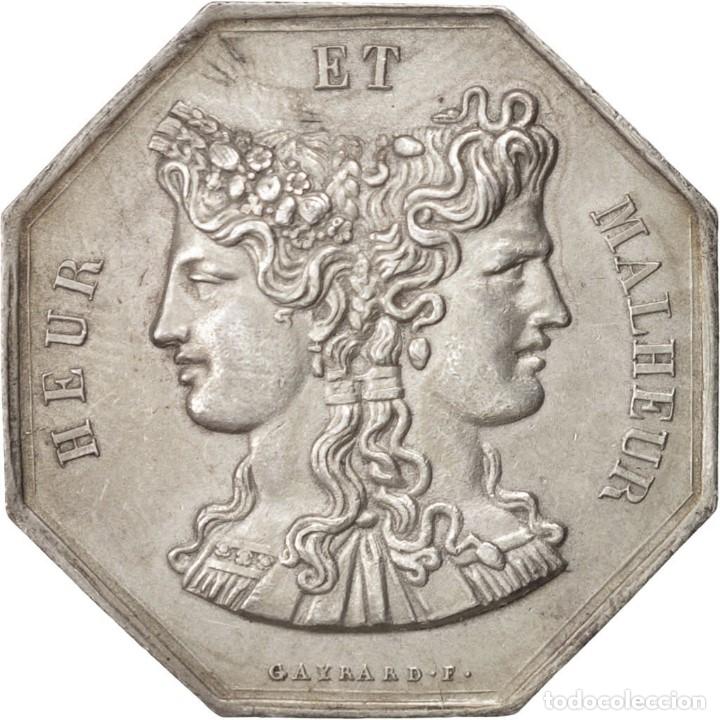 MONEDA PLATA HEUR ET MALHEUR (Numismática - España Modernas y Contemporáneas - Locales y Fichas Dinerarias y Comerciales)