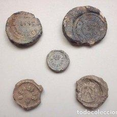 Monedas locales: CINCO PRECINTOS DE PLOMO (2 DE BARCELONA, 1 DE MÁLAGA Y 2 SIN CATALOGAR) SIGLO XIX. Lote 177200500