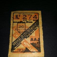 Monedas locales: CUPON SINDICAT CECS CATALUNYA 1936. Lote 177731657