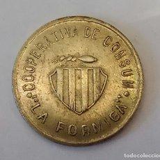 Monedas locales: FICHA DE COOPERATIVA DE CONSUM LA FORMIGA 1 PESSETA. Lote 178592315