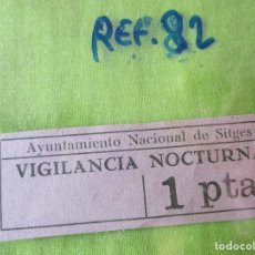 Monedas locales: AYUNTAMIENTO NACIONAL DE SITGES. VIGILANCIA NOCTURNA, 1 PTA.. - REF. 82. Lote 178802320