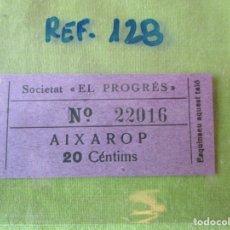 Monedas locales: SOCIETAT EL PROGRES. VALE Nº 22016. AIXAROP. 20 CENTIMOS. REF.128. Lote 179201178
