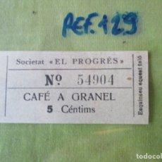 Monedas locales: SOCIETAT EL PROGRES. VALE Nº 54904. CAFE A GRANEL. 5 CENTIMOS. REF.129. Lote 179201302