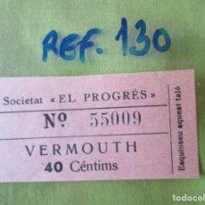 Monedas locales: SOCIETAT EL PROGRES. VALE Nº 55009. VERMOUTH. 40 CENTIMS. REF.130. Lote 179201453
