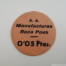 Monedas locales: MANUFACTURAS ROCA POUS. 5 CÉNTIMOS. DISCO CARTON. Lote 180223780