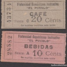 Monedas locales: FRATERNIDAD REPUBLICANA INSTRUCTIVA EL PUEBLO -BARCELONA - VALE CAFÉ 20 CTMS. BEBIDAS 10 CTMS.. Lote 181195228