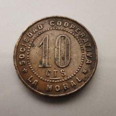 Monedas locales: FICHA 10 CÉNTIMOS SOCIEDAD COOPERATIVA LA MORAL BADALONA. Lote 181567673