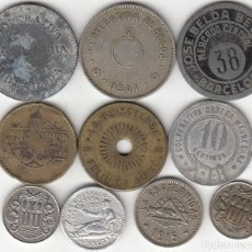 Monedas locales: LOTE 10 FICHAS COOPERATIVAS CATALANAS. Lote 182822893