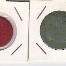 Monedas locales: DOS FICHAS POR DEFINIR Y CLASIFICAR 1 PTS (COLOR ROJO) 2 PTS (COLOR VERDE). MBC+. Lote 183827656