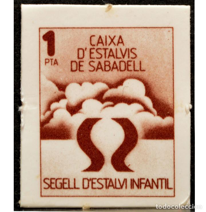 VALE 1 PESETA SELLO DE AHORRO INFANTIL CAIXA D`ESTALVIS DE SABADELL (Numismática - España Modernas y Contemporáneas - Locales y Fichas Dinerarias y Comerciales)