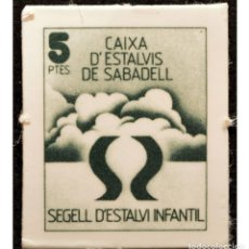 Monedas locales: VALE 5 PESETAS SELLO DE AHORRO INFANTIL CAIXA D`ESTALVIS DE SABADELL. Lote 58731315