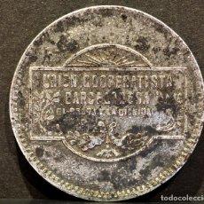 Monedas locales: 5 PESETAS UNION COOPERATIVA BARCELONESA EL RELOJ Y LA DIGNIDAD BARCELONA. Lote 58829951