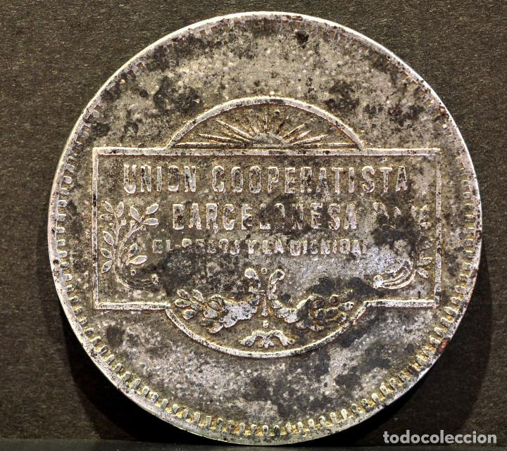 Monedas locales: 5 PESETAS UNION COOPERATIVA BARCELONESA EL RELOJ Y LA DIGNIDAD BARCELONA - Foto 2 - 58829951