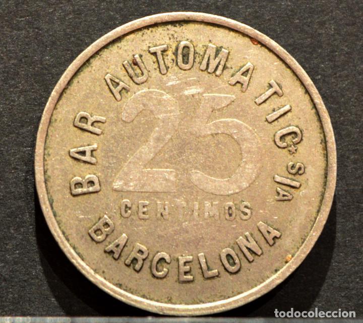 Monedas locales: 25 CENTIMOS MONEDA FICHA BAR AUTOMATIC DE BARCELONA - Foto 2 - 58835650