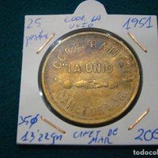 Monedas locales: NUMISMATICA REQUEJO FICHA DE 25 PTS COOP. LA UNIO CANET DE MAR 1951. Lote 184688195