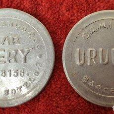 Monedas locales: PAREJA DE MONEDAS PUBLICITARIAS. SELLOS DE 5 Y 10 CTMS. METAL PLATEADO. SIGLO XX. Lote 186284348