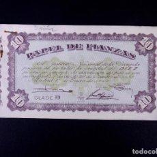 Monedas locales: PAPEL DE FIANZAS DE 10 Y 50 PESETAS. LOTE DE 8 UDS. INSTITUTO NACIONAL DE LA VIVIENDA 1940. Lote 187192348