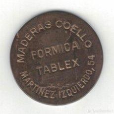 Monedas locales: FICHA CON RESELLO MADERAS COELLO MARTINEZ IZQUIERDO 54 FORMICA TABLEX. F038. Lote 187192386