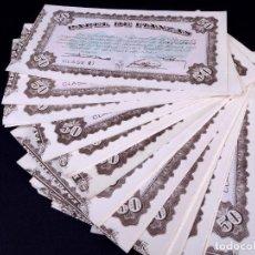 Monedas locales: PAPEL DE FIANZAS DE 50 PESETAS. LOTE DE 66 UDS. INSTITUTO NACIONAL DE LA VIVIENDA 1940. Lote 187192508