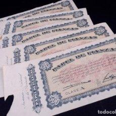 Monedas locales: PAPEL DE FIANZAS DE 500 PESETAS. LOTE DE 5 UDS. INSTITUTO NACIONAL DE LA VIVIENDA 1940. Lote 187192955