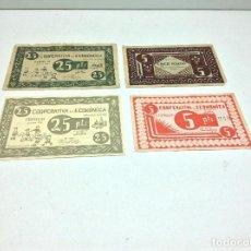Monedas locales: RARA COLECCION BILLETES COOPERATIVA LA ECONOMICA DE CENTELLAS. Lote 188522732