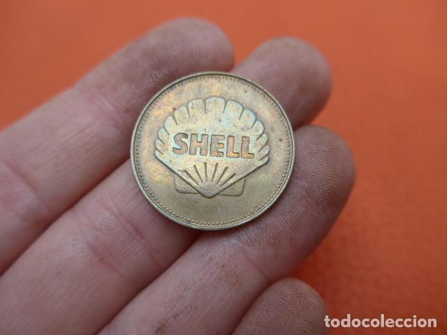 Monedas locales: * Antigua moneda o ficha de shell, avion de 1927, charles lindberch, original. ZX - Foto 2 - 189301148
