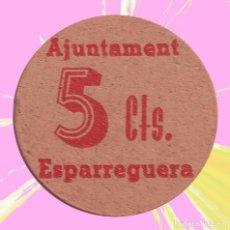 Monedas locales: VALE 5 CÉNTIMOS AJUNTAMENT DE ESPARRAGUERA GUERRA CIVIL MONEDA FICHA BILLETE AYUNTAMIENTO. Lote 190022698