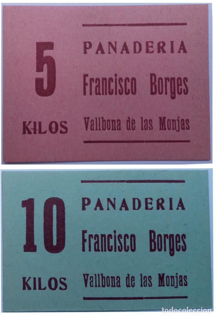2 VALES 10 Y 5 KG DE PAN PANADERIA FRANCISCO BORGES DE VALLBONA DE LAS MONJAS (LLEIDA-LERIDA) XXG (Numismática - España Modernas y Contemporáneas - Locales y Fichas Dinerarias y Comerciales)